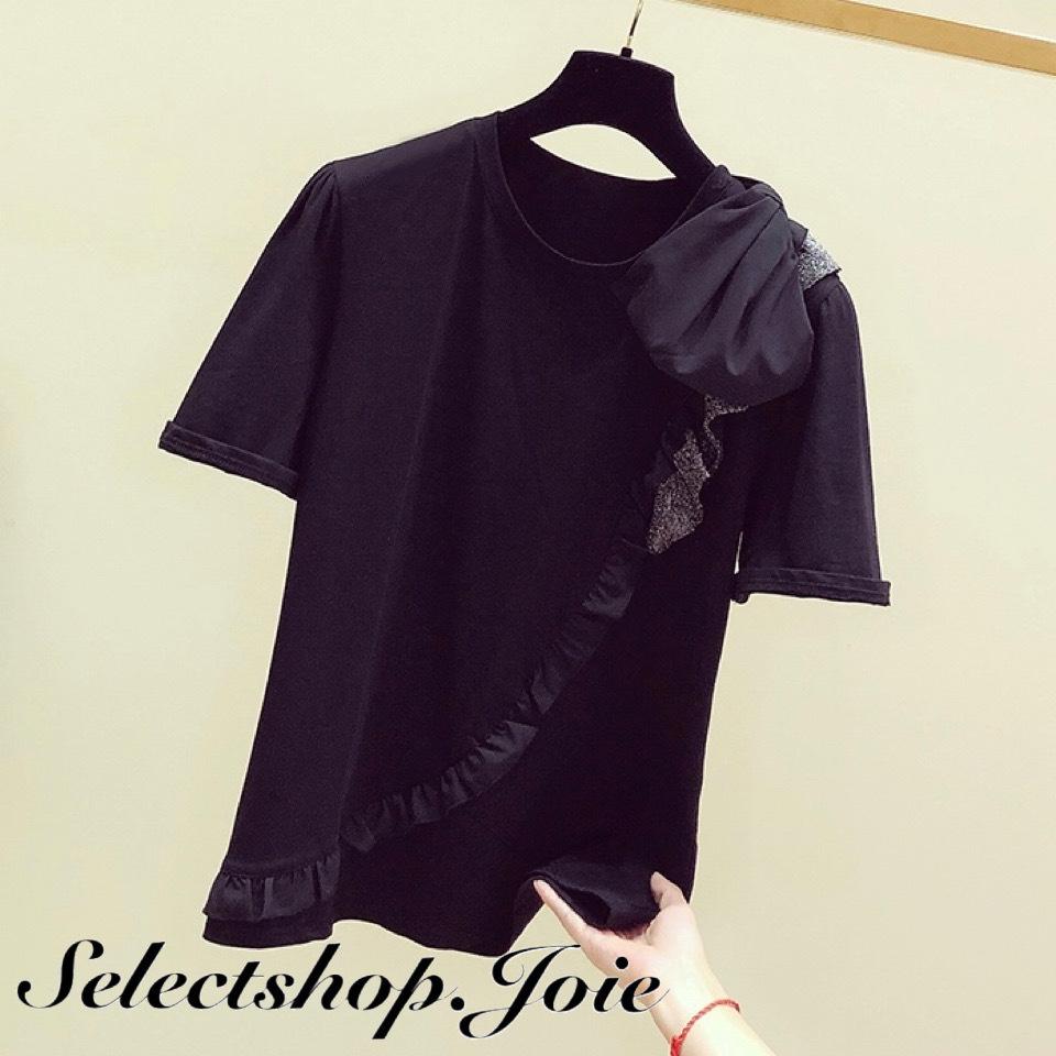 フリルライン ブラックリボンTシャツ