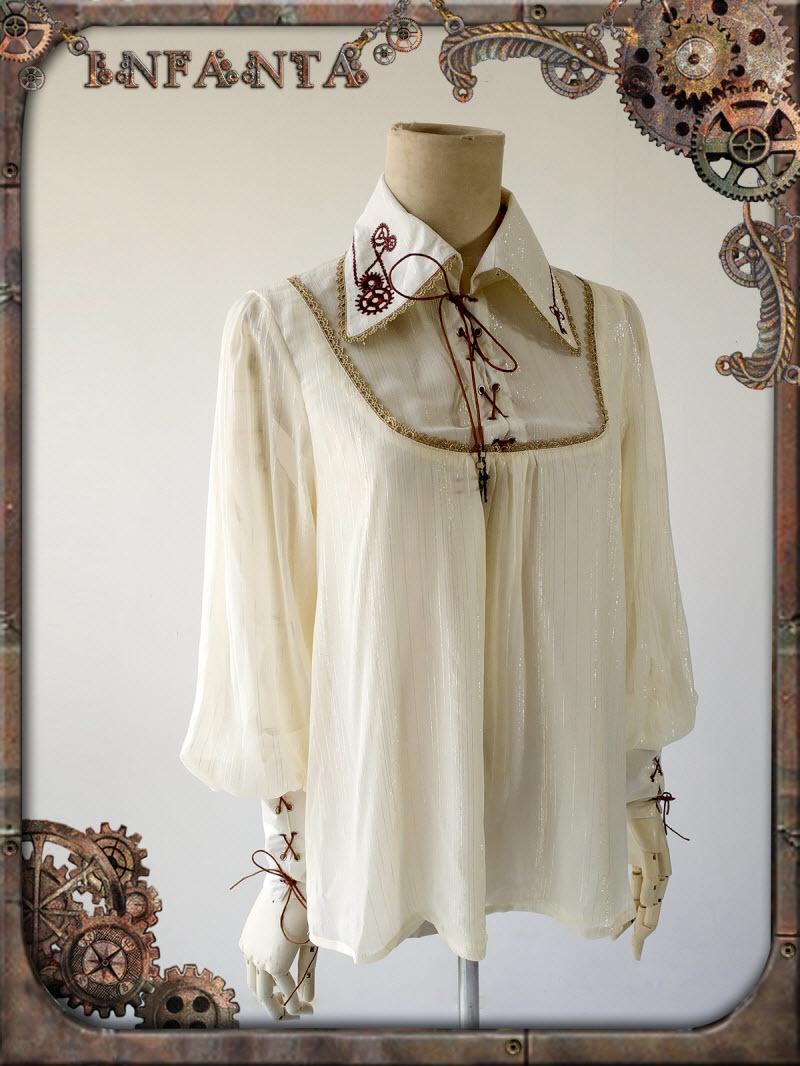 Infanta -Antique Mechanical Doll- Steampunk Lolita Ouji Lolita Gears Embroidery Collar Blouse~スチームパンク王子ロリータギア刺繍襟ブラウス~
