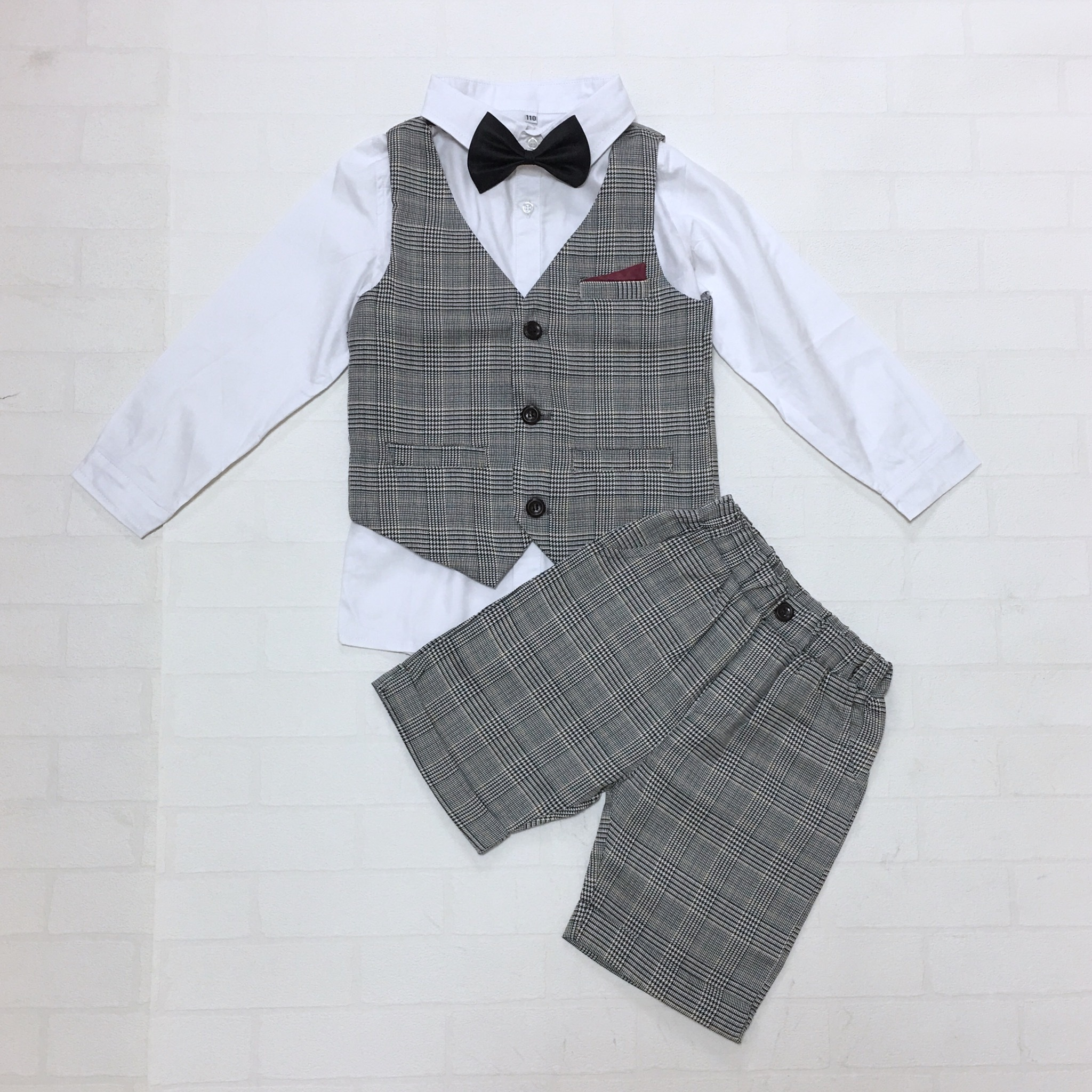 ホワイトシャツ×グレンチェックフォーマルベスト4点セット【173】