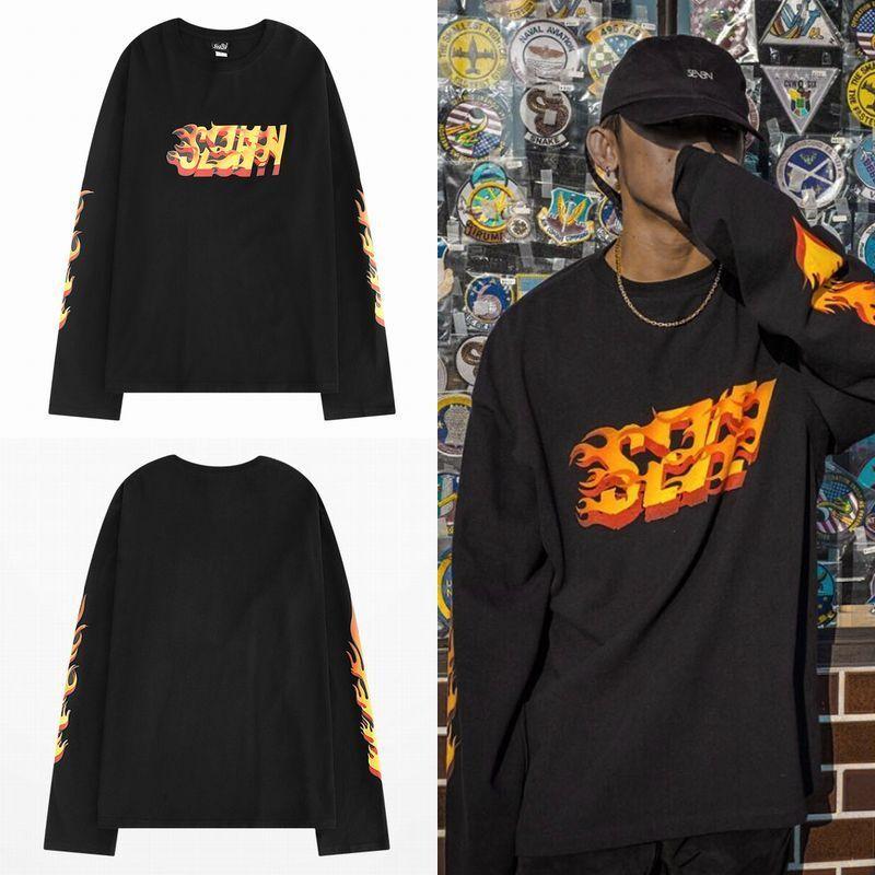 ユニセックス 長袖 Tシャツ メンズ レディース ファイヤーパターン 袖プリント オーバーサイズ 大きいサイズ ストリート