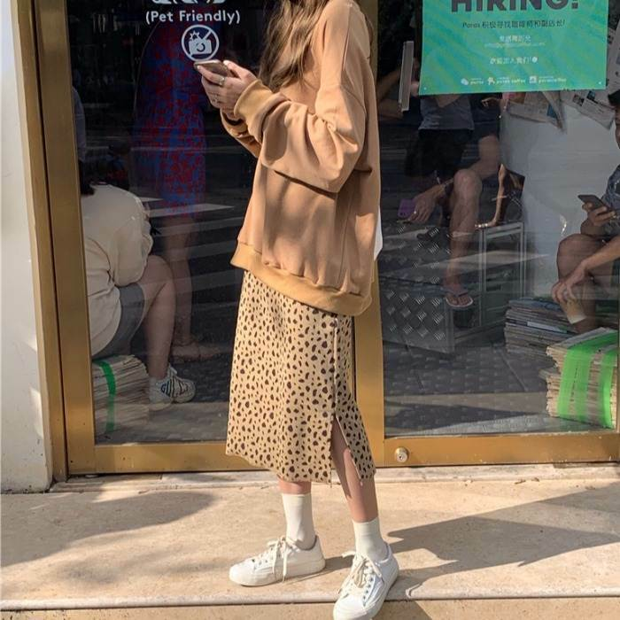 【送料無料】レオパード柄 ワントーンコーデ ♡ 2点セット セットアップ オーバーサイズ スウェット × タイトスカート