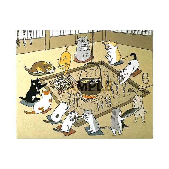 台湾ポストカード「貓咪圍爐」