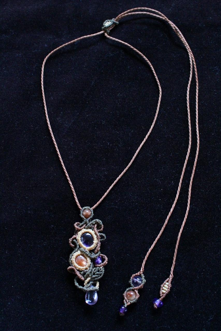 Amethyst & Sunstone macrame pendant