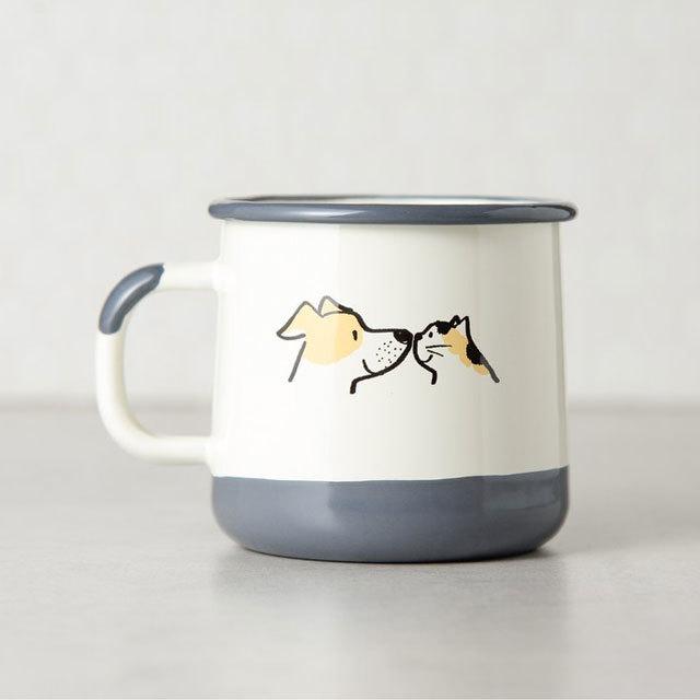 ネコ&イヌの仲良しホーローカップ