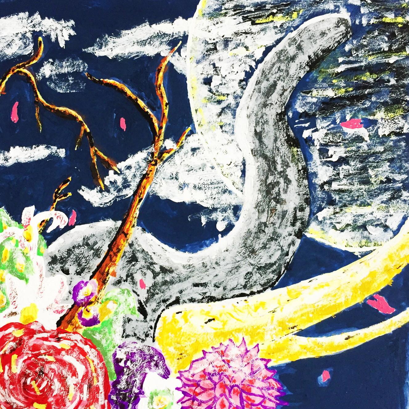 絵画 インテリア アートパネル 雑貨 壁掛け 置物 おしゃれ アクリル画 イラスト ゾウ 動物 ロココロ 画家 : yuki 作品 : 満月