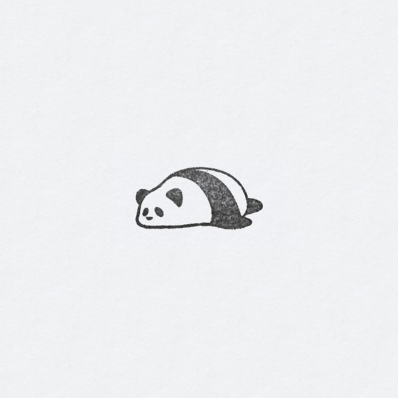 ゴム印 うつぶせパンダ