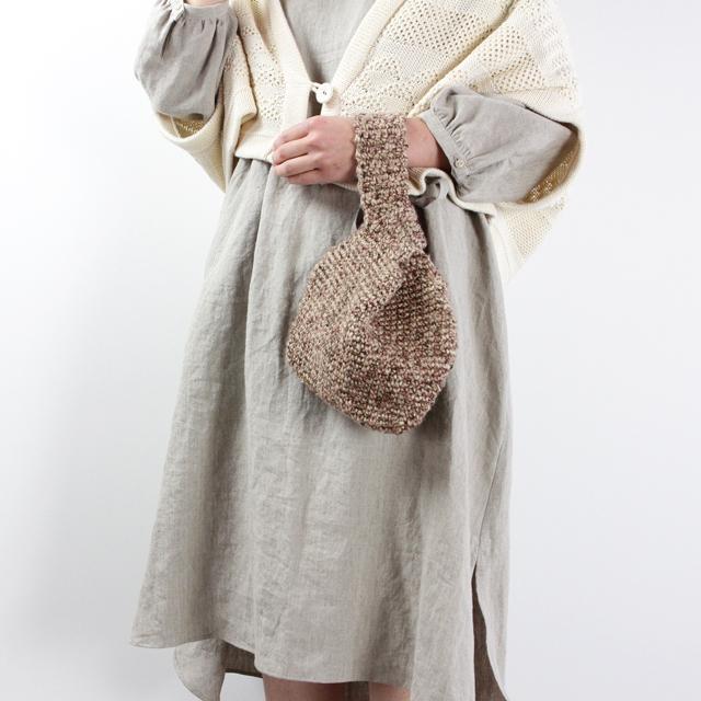 【編み物キット】No.14の糸を使った麻のこま編みバック