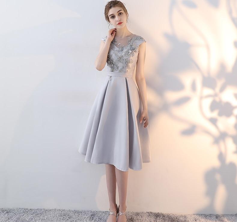 66bbe6c44dfff ドレス パーティードレス ワンピース 袖なし 膝丈 グレー ボックスプリーツお呼ばれドレス 結婚式 二次会