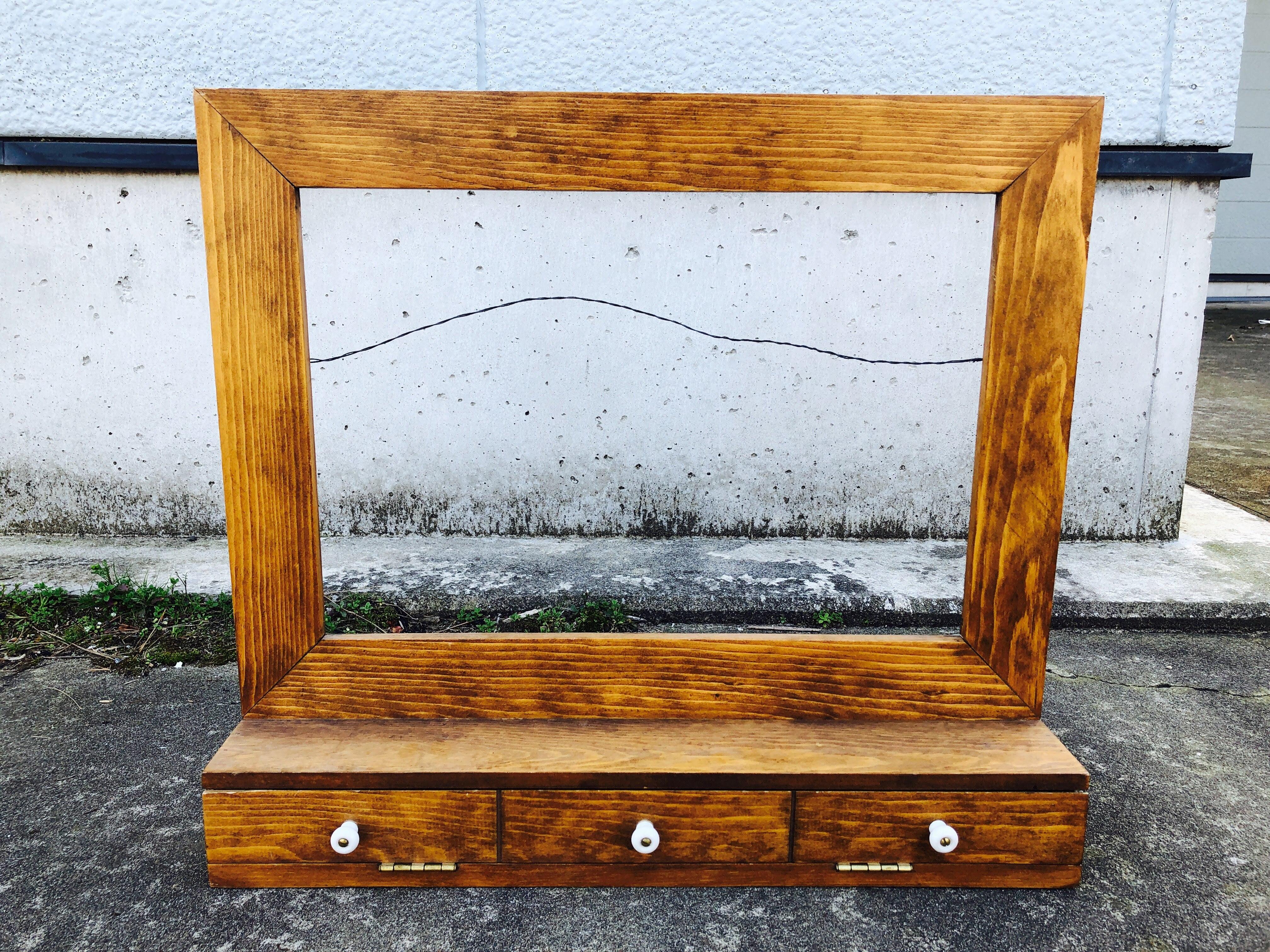 品番4615 壁飾り アート チーク材 木製 引き出し付き インテリア ディスプレイ アンティーク