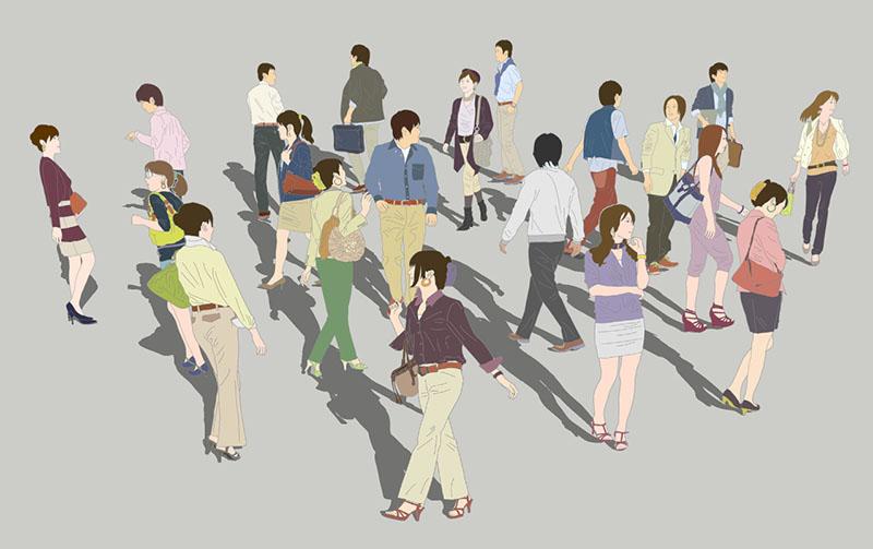 人物イラストSketchUp素材 4up_color01_20_3 - 画像1