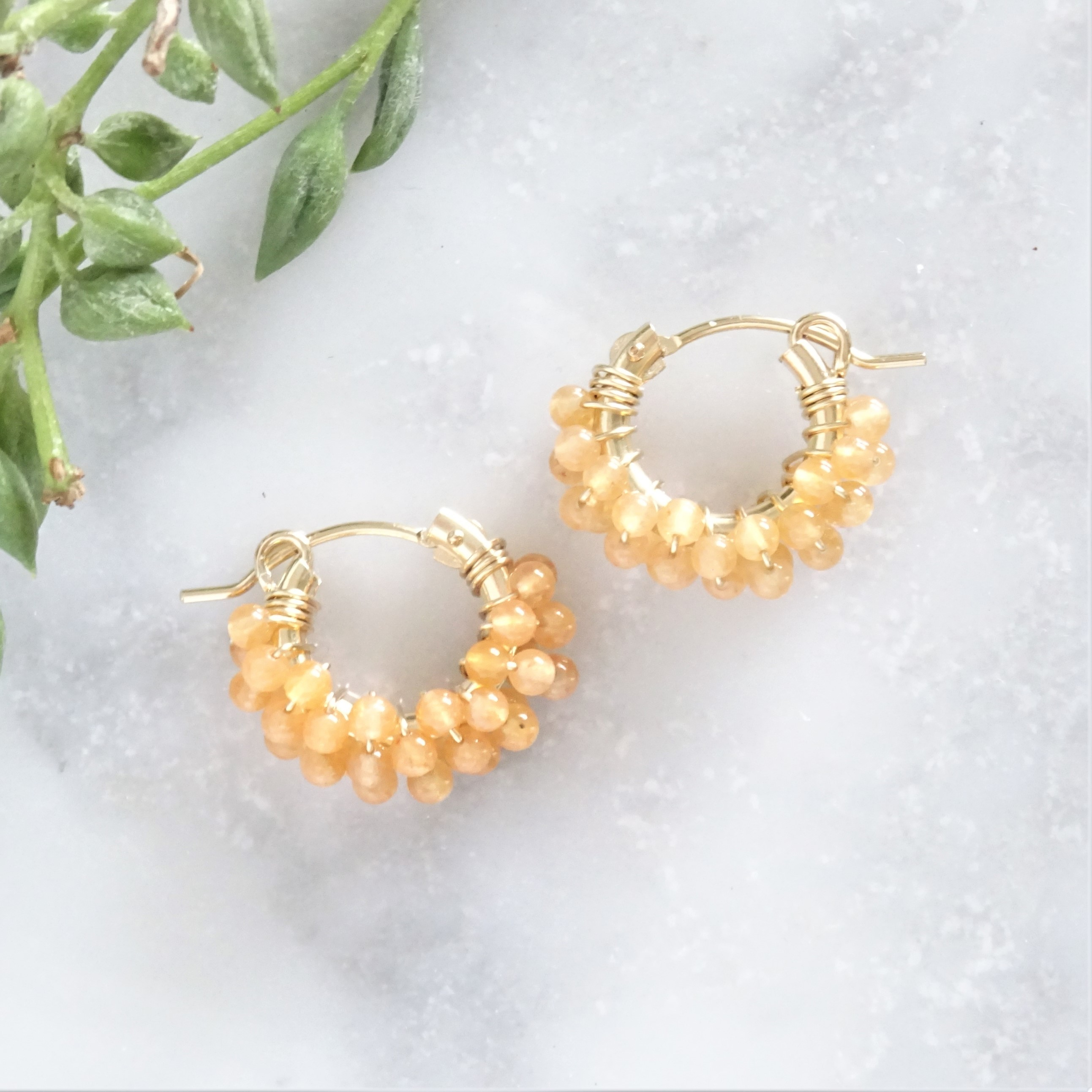 送料無料 14kgf*Orange Aventurine pavé pierced earring SSR