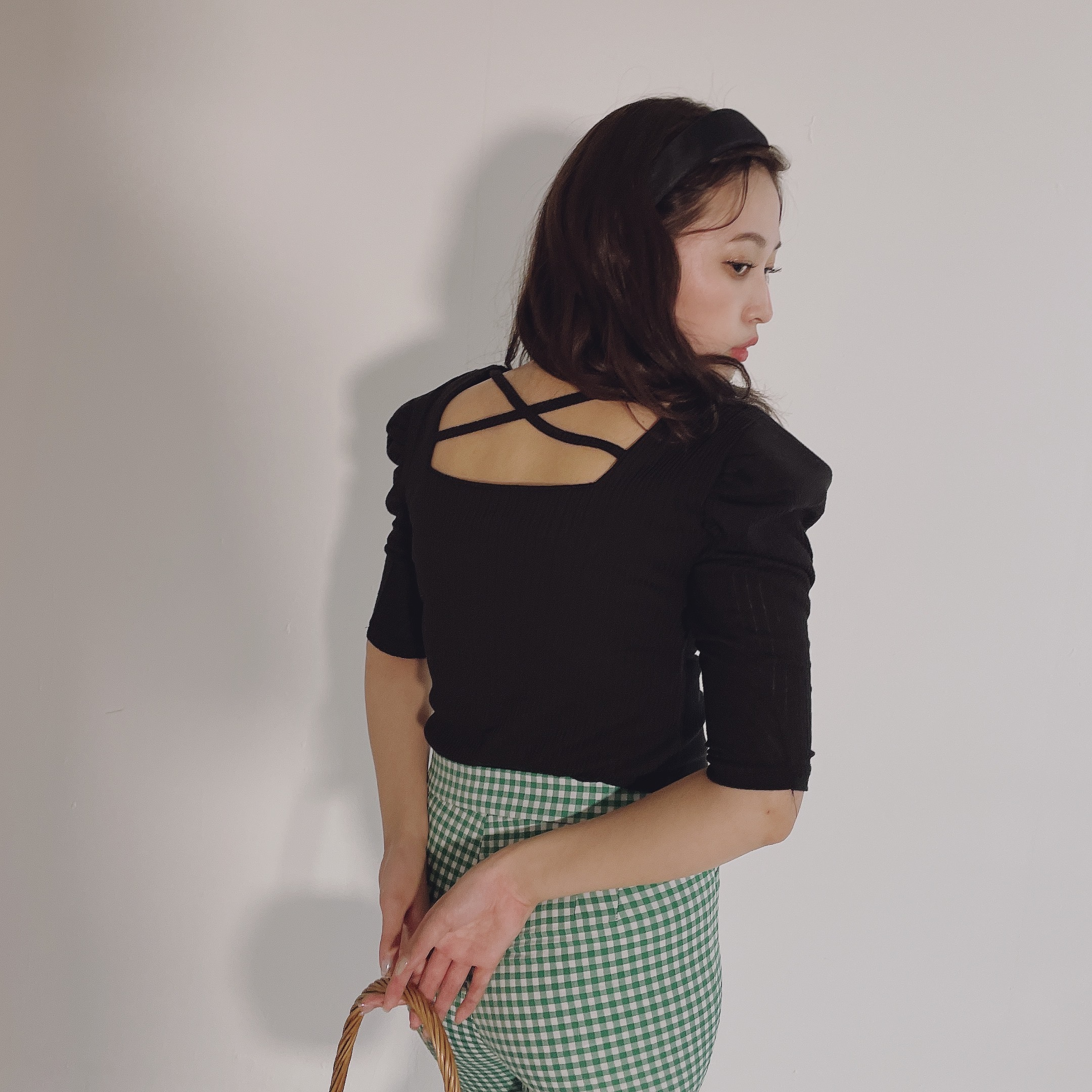 square neck back cross tops