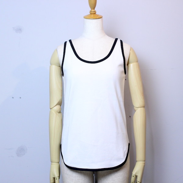 "Tieasy AUTHENTIC CLASSIC(ティージー オーセンティッククラシック) ""SUMMER KNIT ROUND TANK""te503t WHITE×BLACK"