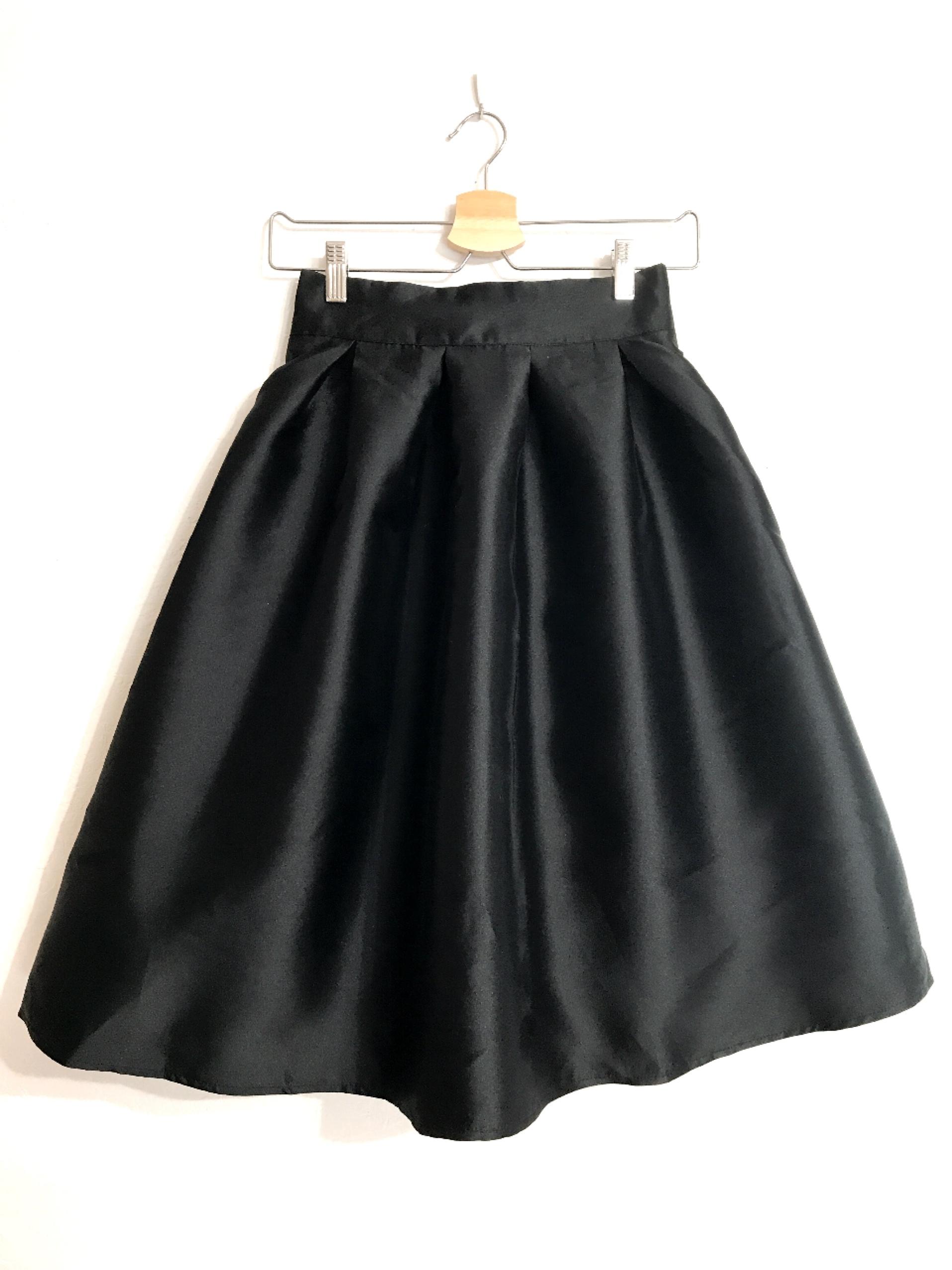 長め丈★しっかり生地のハリ感フレアスカート ブラック