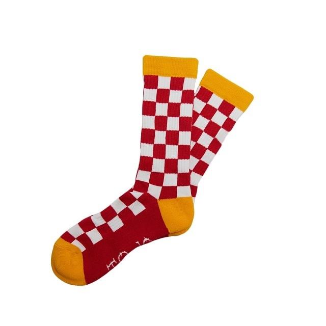 SURF SKATE CAMP #Checker Socks Red
