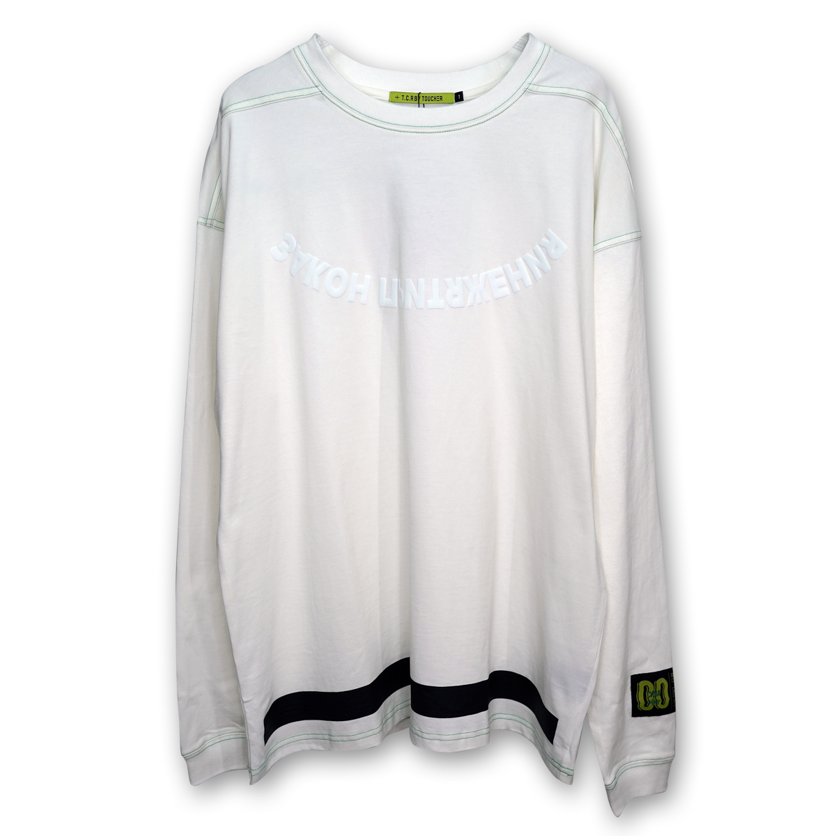 OVERSIZED ATTRACTION L/S TEE - WHITE/GREEN