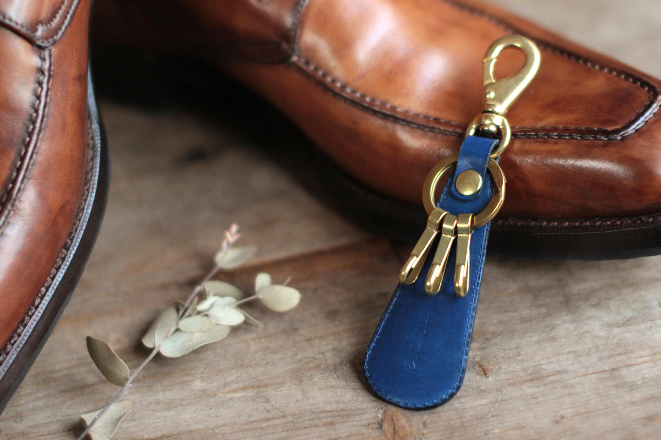 藍染革[migaki]  靴べら付キーホルダー