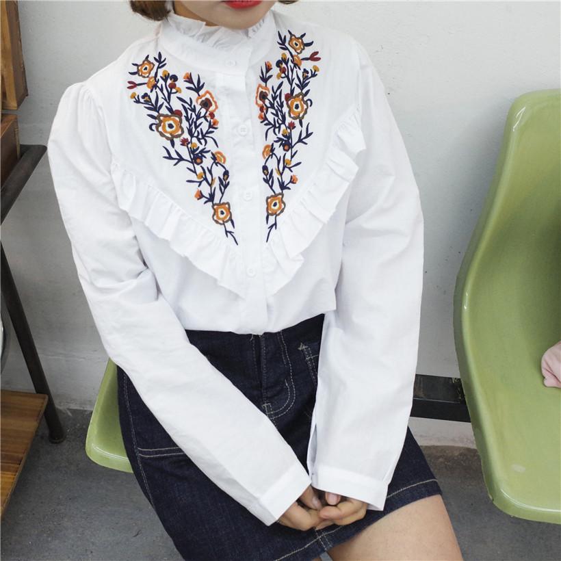 ハイネック 花柄刺繍 シャツブラウス 2色 ts4018