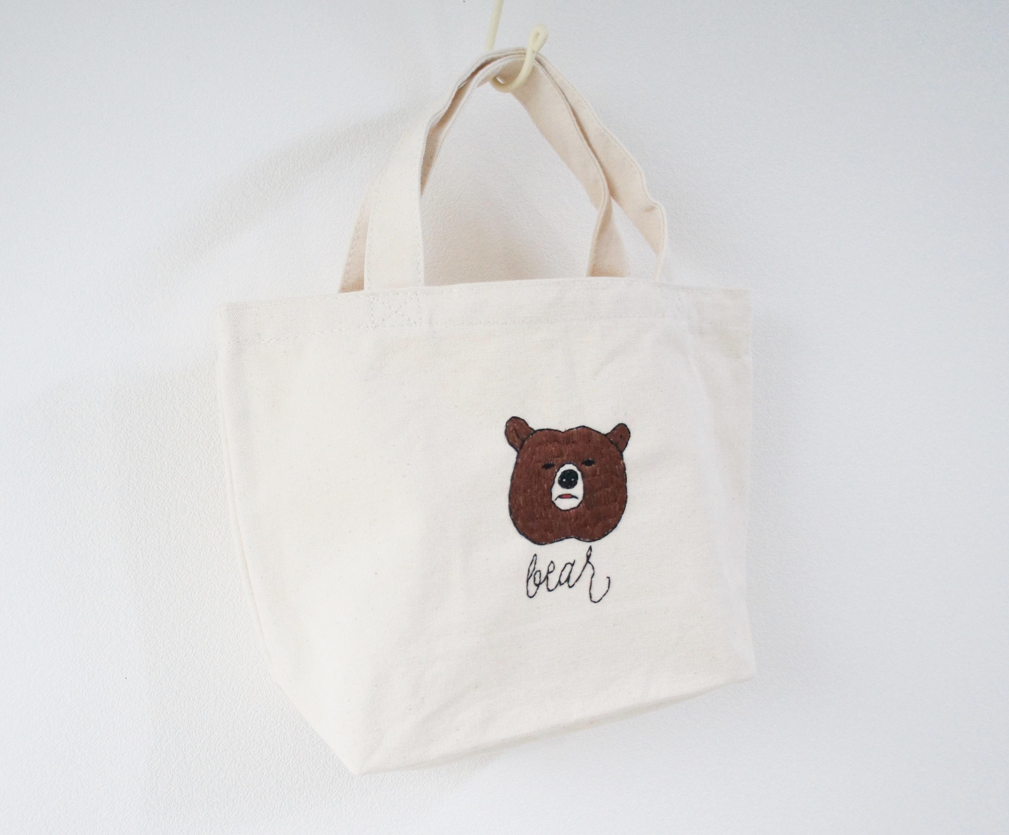 クマの刺繍帆布バッグ