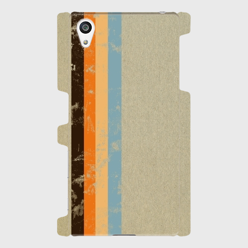 レトロストライプ(灰・黒・橙・薄橙・水) / Androidスマホケース(ハードケース)