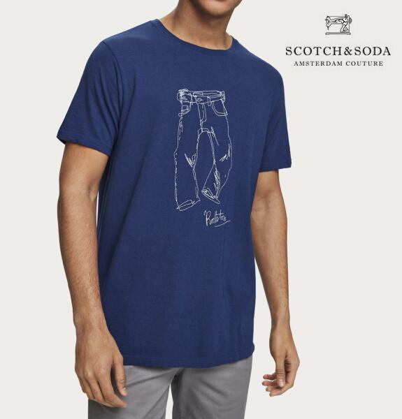 スコッチ&ソーダ SCOTCH&SODA 半袖 Tシャツ クルーネック ロゴ TシャツNAVY 282-14402