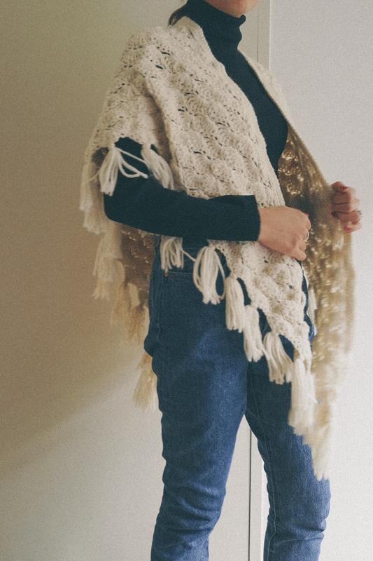 ivory knit poncho