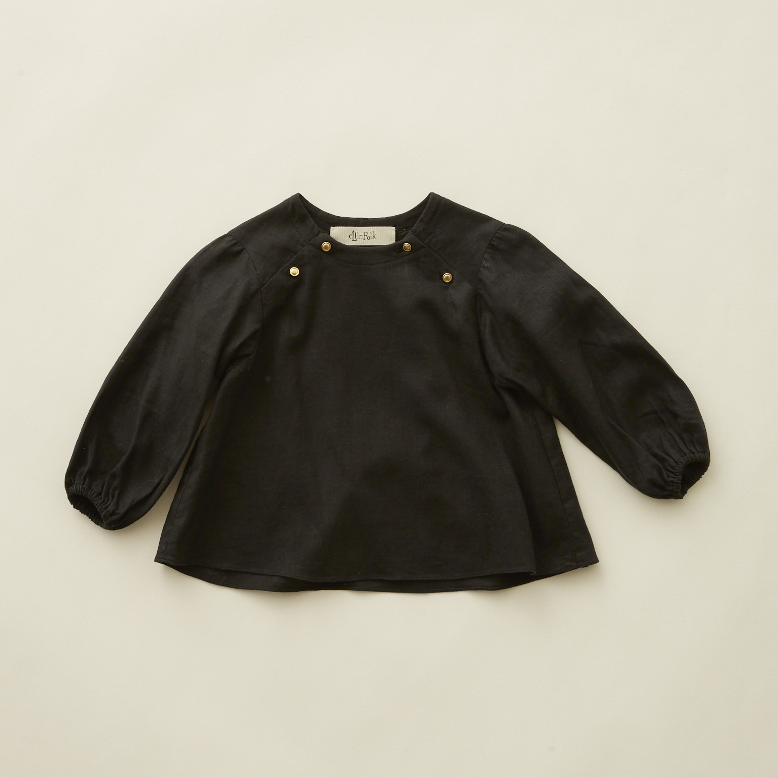 《eLfinFolk 2020AW》C/L washer  baby blouse / black / 80-100cm
