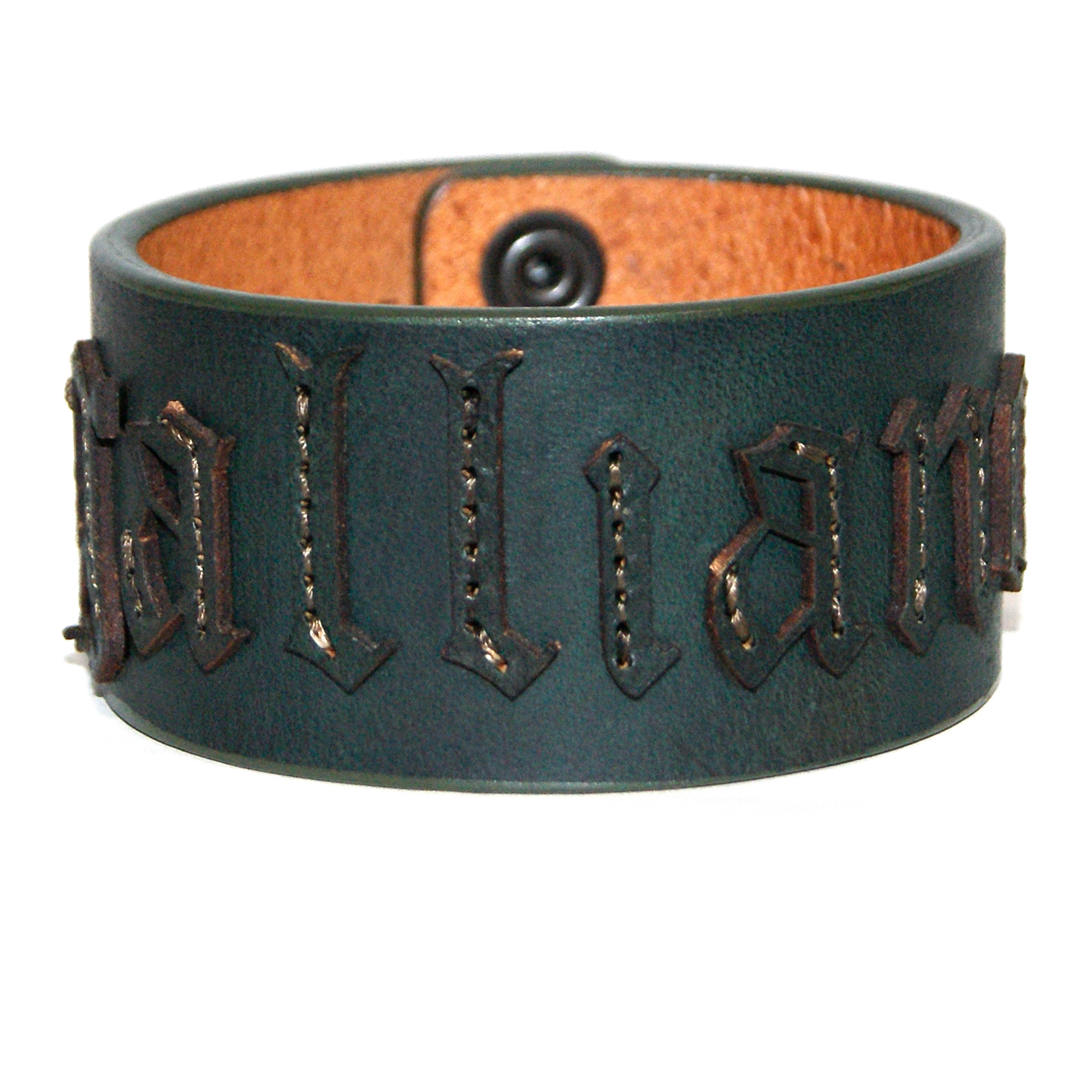 JOHN GALLIANO Leather Bangle DARK GREEN