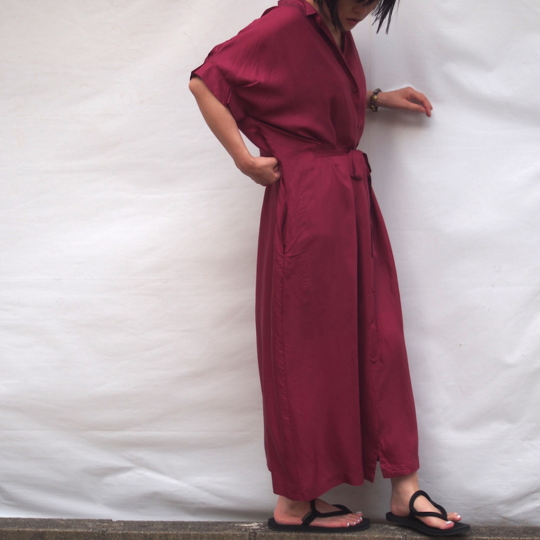 【hippiness】cupro  tack sleeve  one piece(red) /【ヒッピネス】キュプラ タックスリーブ ワンピース(レッド)