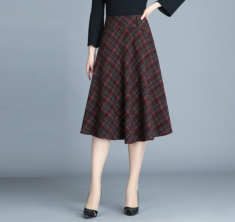 フレアスカート フェミニン ミディアム丈 ハイウエスト タータンチェック 無地 デート 大きいサイズ レディース スカート