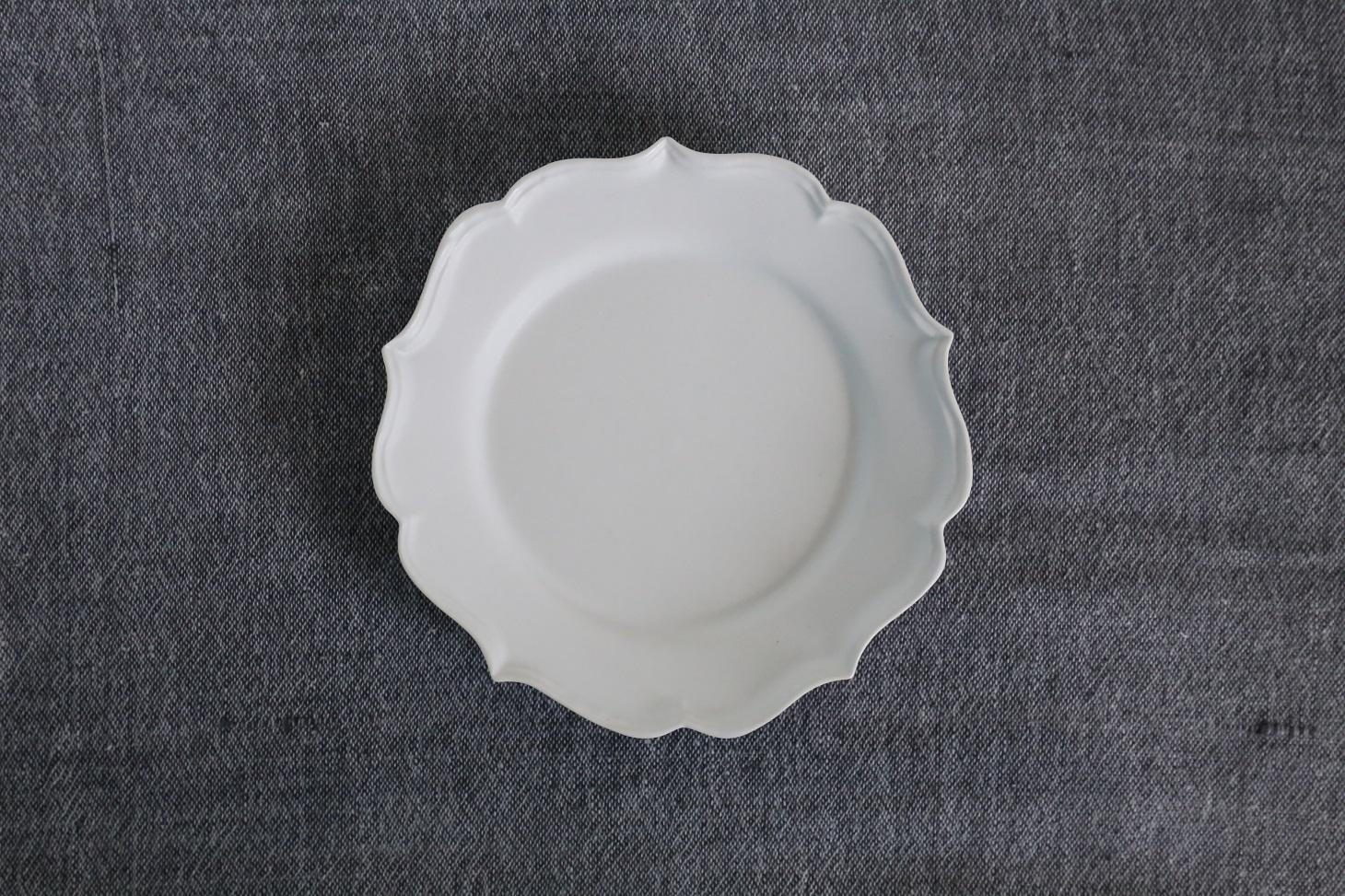 臼杵焼 稜花リム皿(小)