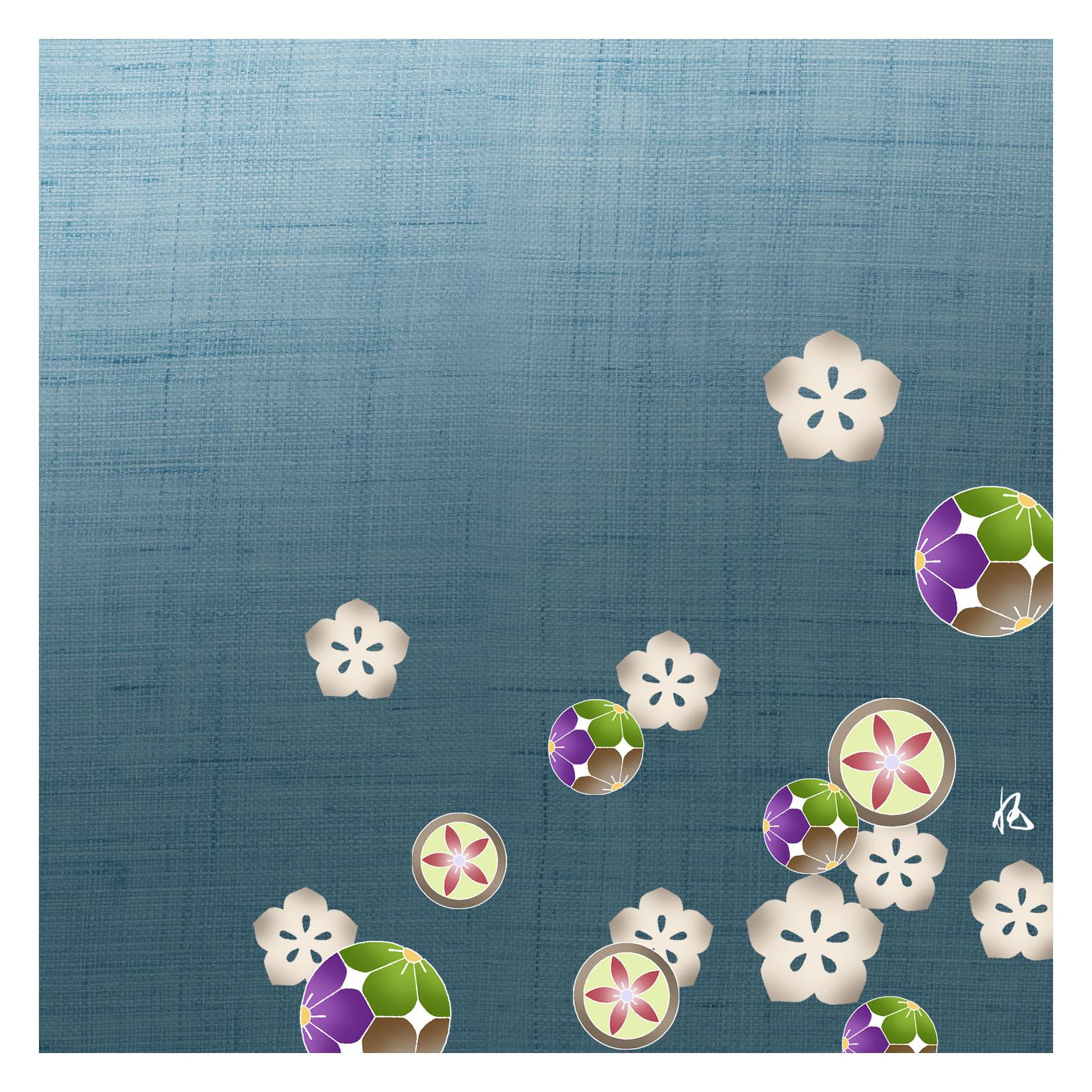 ガラス皿「そめゆら」K-12 桔梗紋 ブルー
