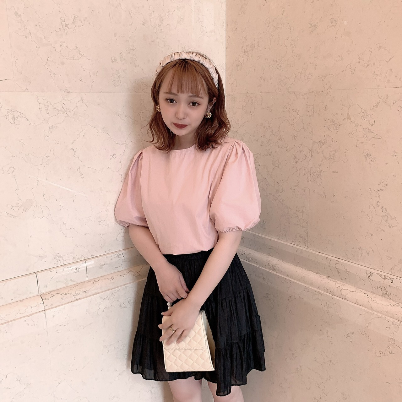 【meltie】satin tiered skirt