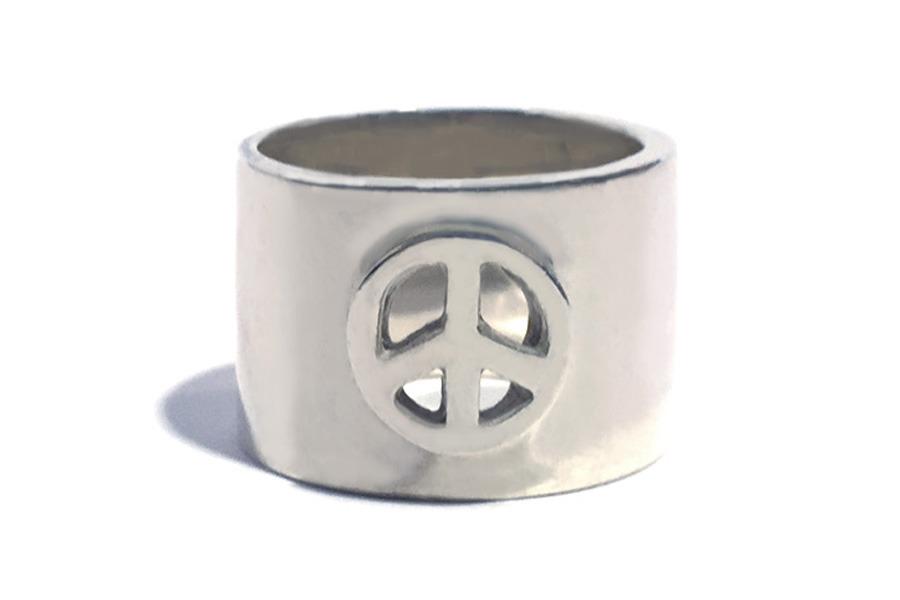 ピースマークリベットのリング
