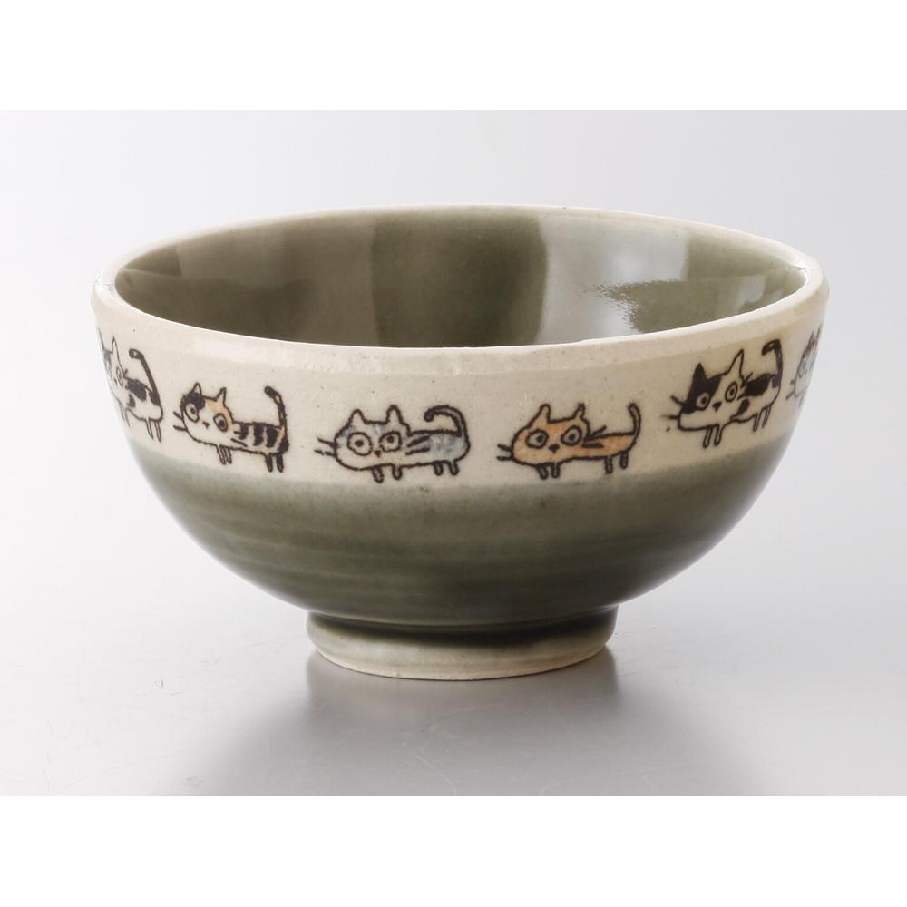 猫飯茶碗(散歩猫飯碗)緑