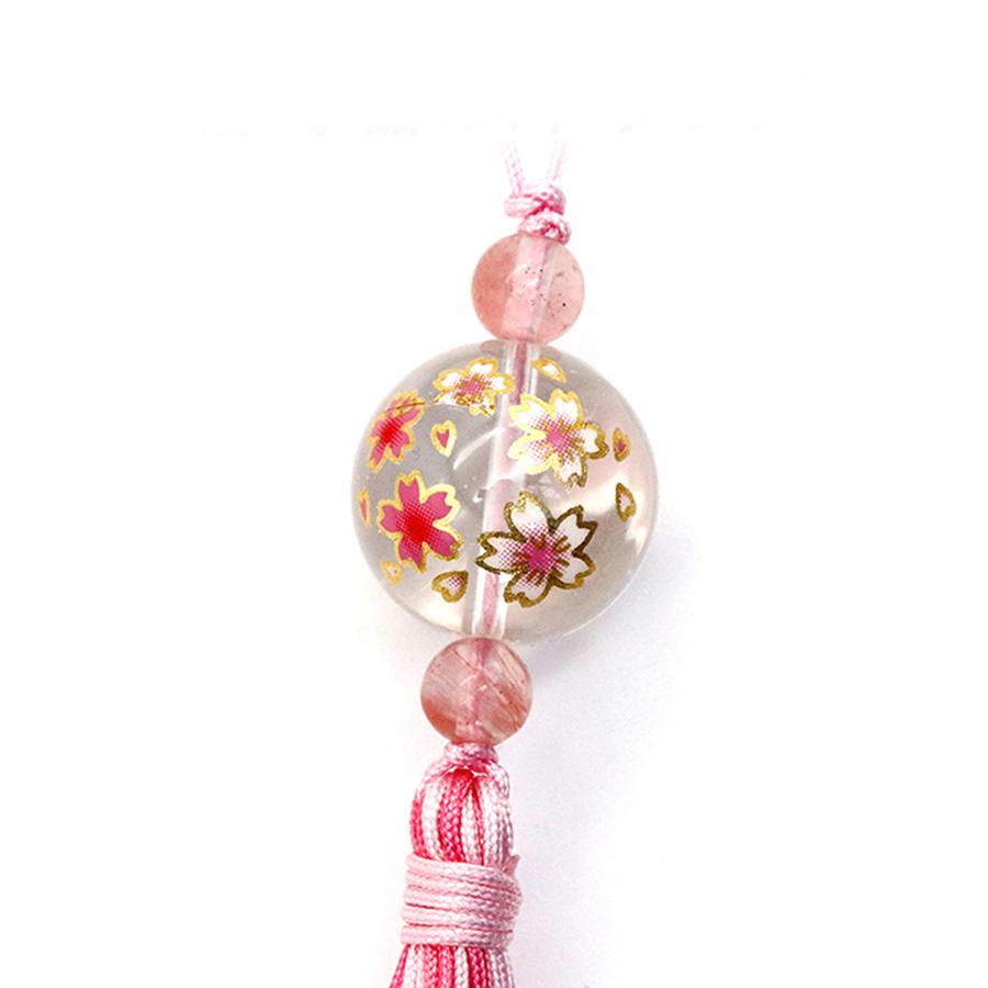 【幸福の石】★開運★桜水晶ストラップ・チェリークォーツ