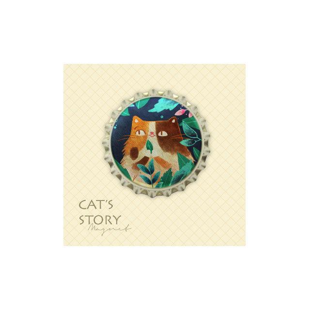猫 王冠型マグネット(祝福花花)