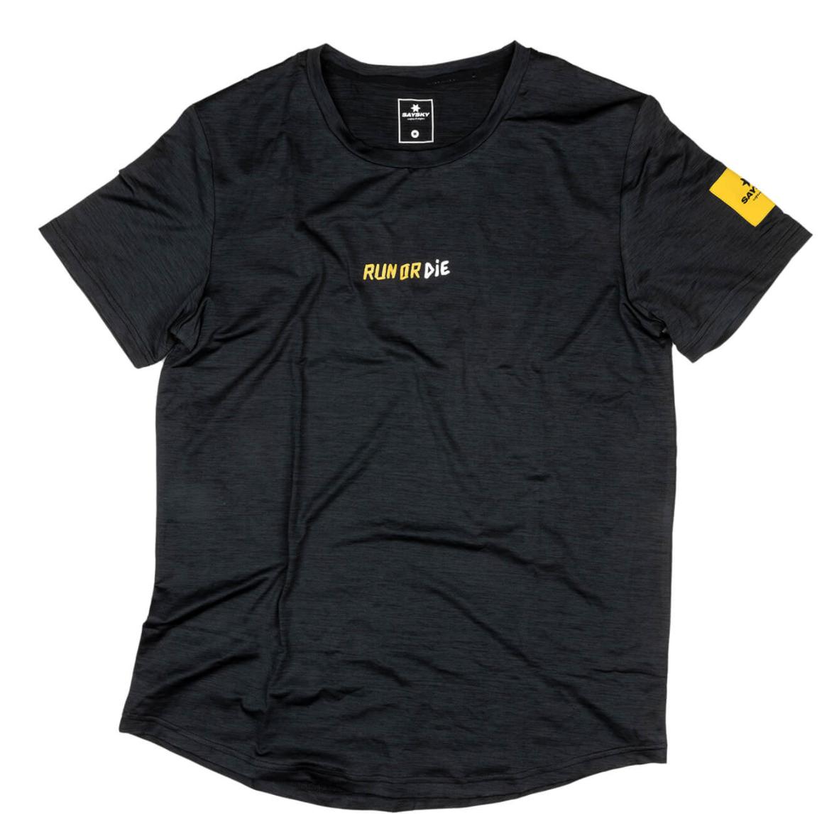 【NEW!】SAYSKY セイスカイ ランニングTシャツ Run Or Die Pace Tee - BLACK MELANGE [ユニセックス] FMRSS04