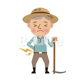 イラスト素材:農作業で腰を痛めた年配の農夫(ベクター・JPG)