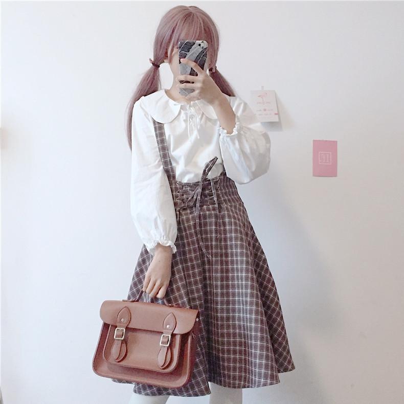 【set】[単品注文]スウィートチェック柄折り襟シャツ+スカートセット14211710