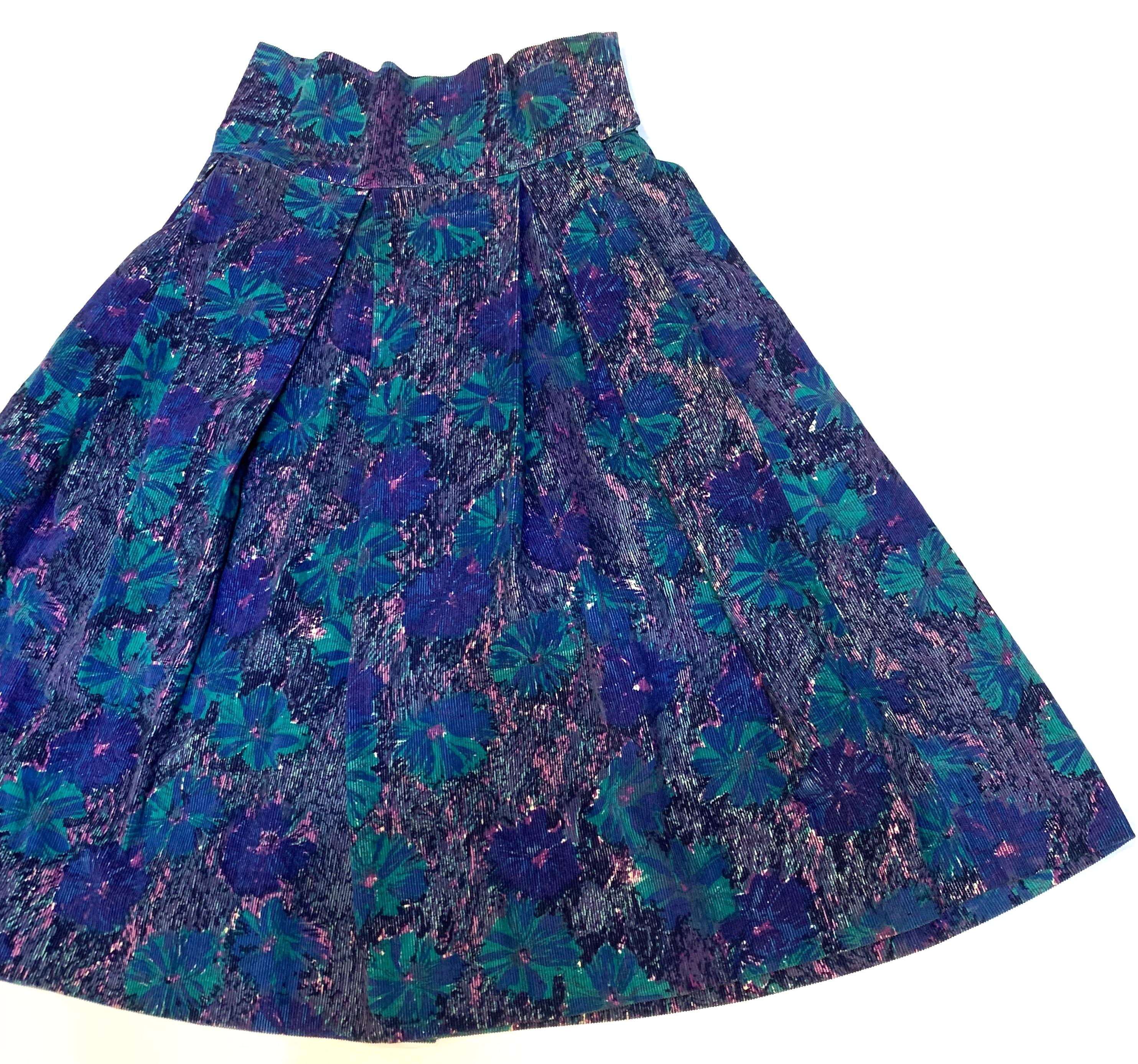 花柄コーデュロイスカート