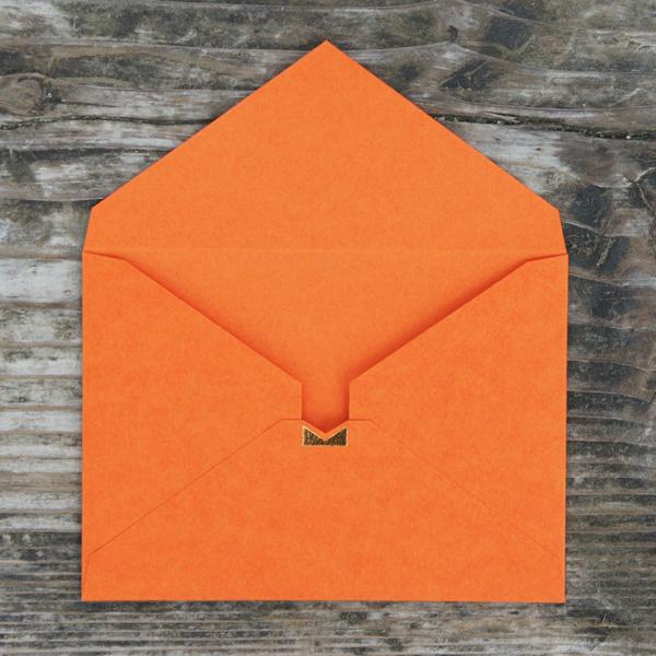 【シンプルオレンジ】カード付スタイリッシュ封筒 HSB01B