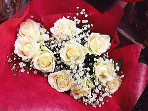 bu004 花束 白バラ