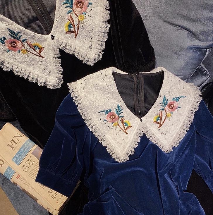 retro frill collar dress