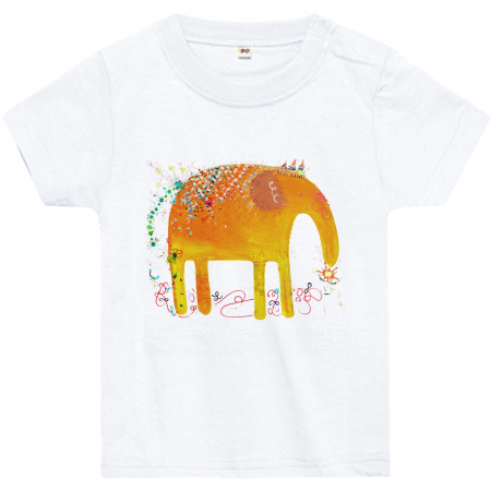 旅するゾウさん - キッズTシャツ/ 肩ボタンあり - 80/90