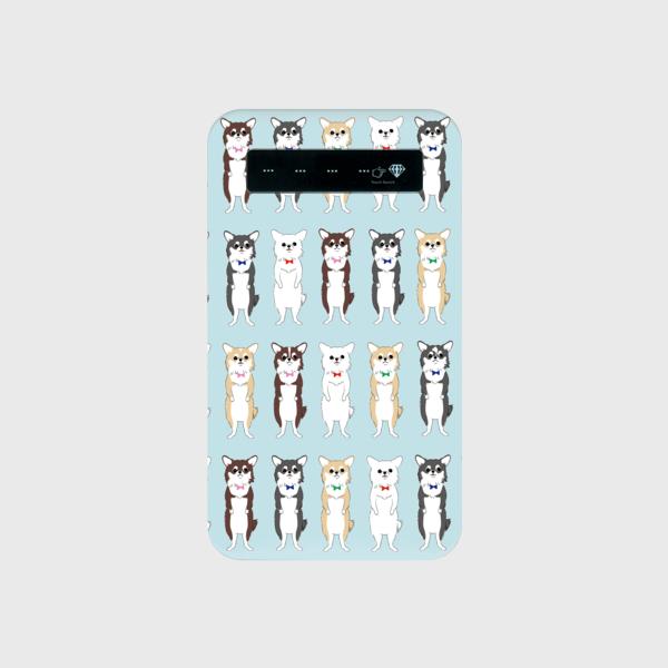 <受注制作>チワワちゃん モバイルバッテリー 水色