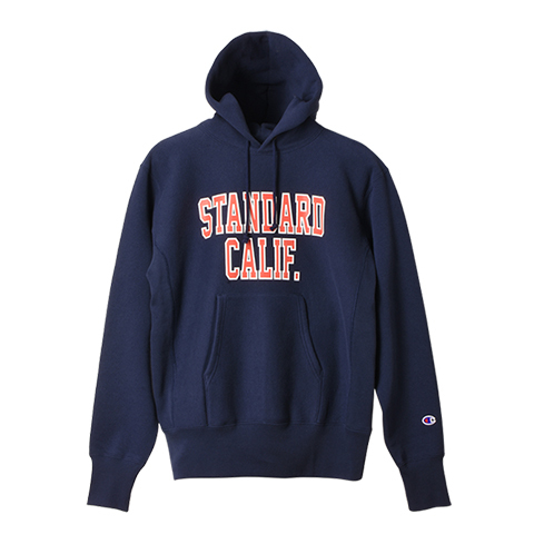 STANDARD CALIFORNIA #Champion × SD Reverse Weave Hood Sweat Navy