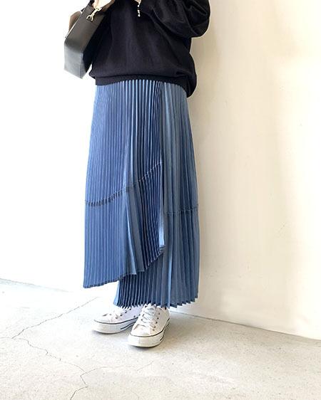 ラップ風プリーツスカート / Lallia Mu