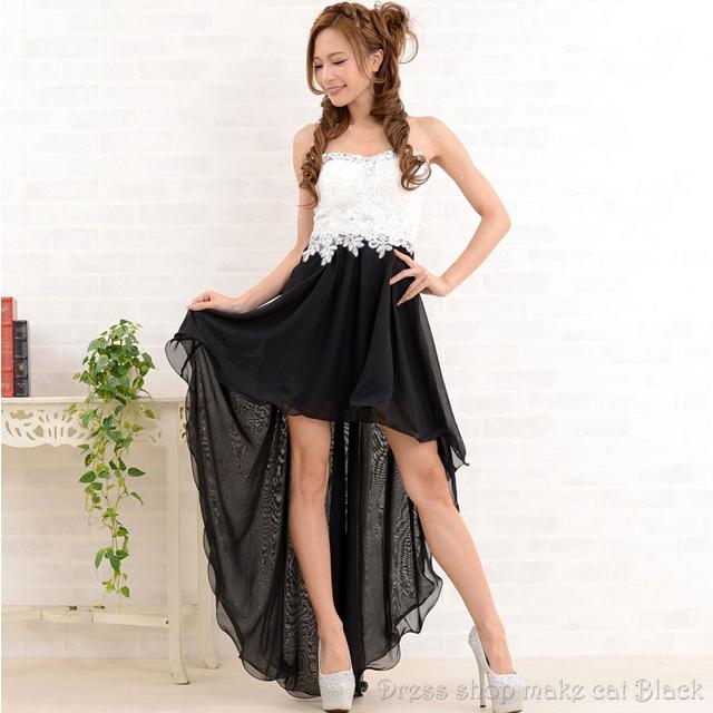 SALE (フリーサイズ) 5色展開 ロングドレスバイカラーテールカット キャバドレス ドレス パーティー 0676