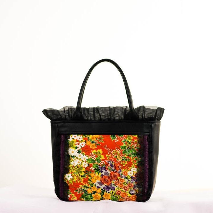 橙色 花模様 正絹 長濱ちりめんをモチーフにしたフリルバッグ 四角形 Sサイズ